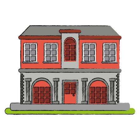 vintage city building icon image vector illustration design Illustration
