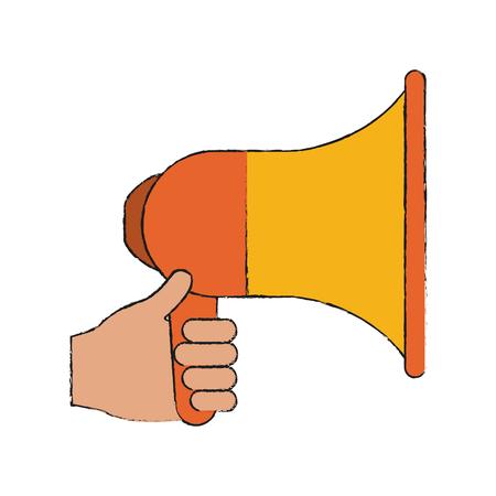 hand holding megaphone loudspeaker icon image vector illustration design