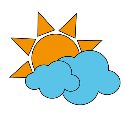 sun with clouds icon image vector illustration design