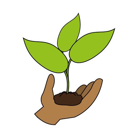 hand holding plant icon image vector illustration design