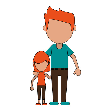 father and daughter family members avatars icon image vector illustration design