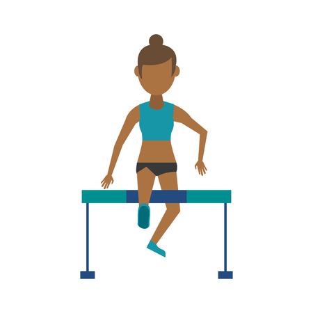 athlete jumping over hurdle sport avatar icon image vector illustration design