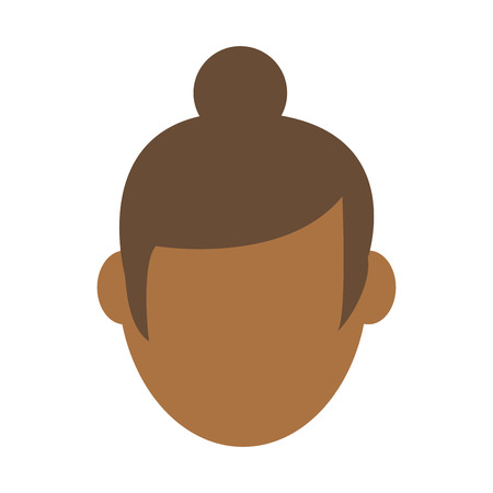 head of woman with hair in bun avatar icon image vector illustration design