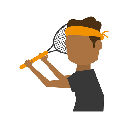 male tennis player athlete sport avatar icon image vector illustration design