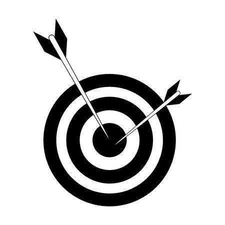 땡기 또는 다트 보드 아이콘 이미지 벡터 일러스트 디자인 흑백