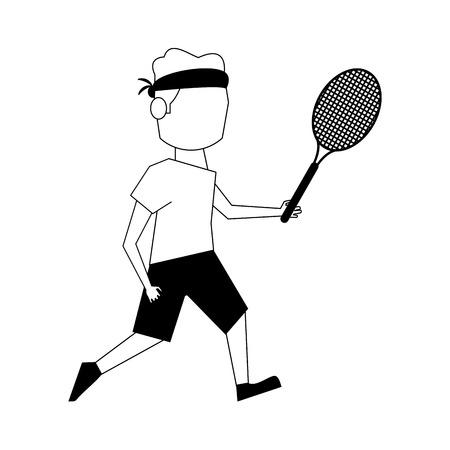 headband: male tennis player athlete sport avatar icon image vector illustration design  black and white