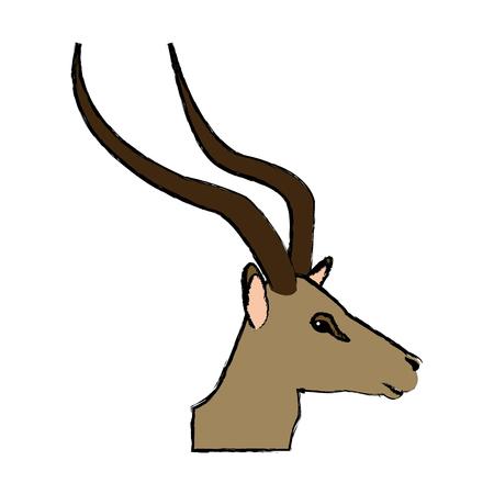 Portrait head impala Africa mammal wild illustration. Illustration