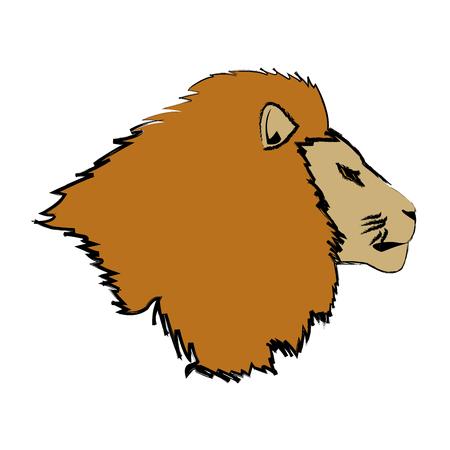 Head big lion African powerful fierce illustration. Illustration