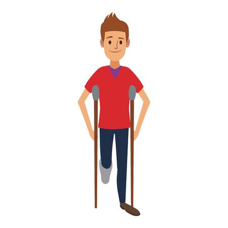 hombre carácter en muletas discapacidad vendaje ilustración vectorial