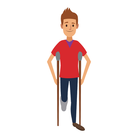 man character in crutches disability bandage vector illustration