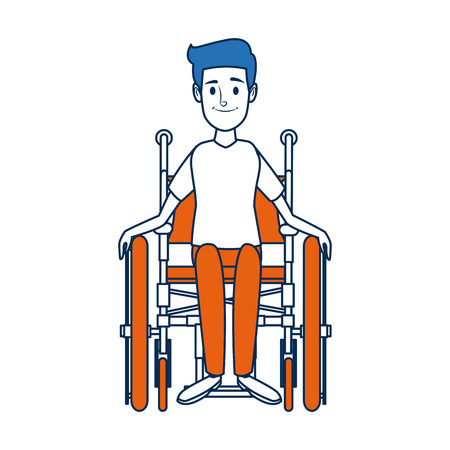 man in wheelchair care disabled patient health vector illustration Illustration