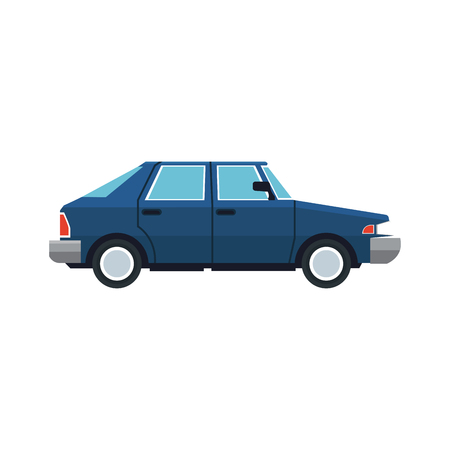 Blue car sedan vehicle transport image vector illustration