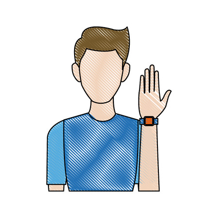 Portrait young man wear wearable technology icon vector illustration Illustration