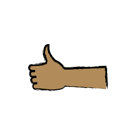 alright: Hand with thumb up like ok gesture icon vector illustration