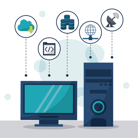 A color background with desktop computer in closeup and network storage icons on top vector illustration.