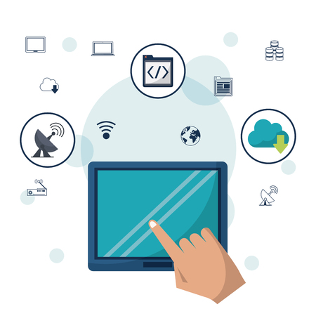 networking cables: Colored background with tablet device and hand in closeup and networking icons on top vector illustration.