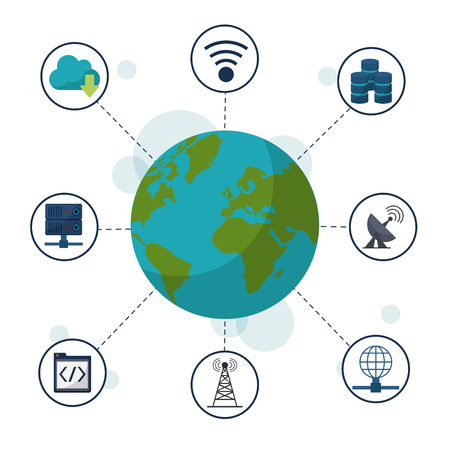 color background with earth glober and icons network connections and communications around vector illustration