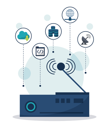 color background with wireless router in closeup and network communication icons on top vector illustration