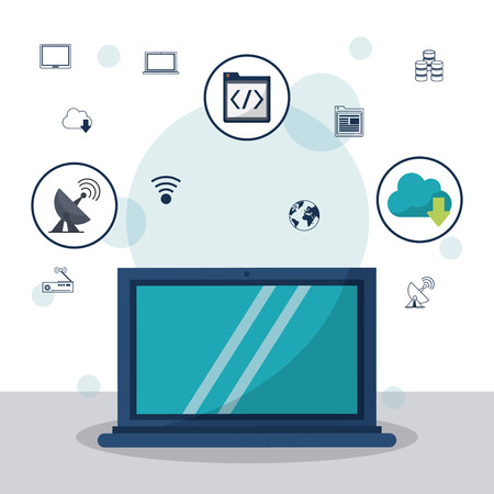 color background with laptop computer in closeup and communication icons and networking icons on top vector illustration