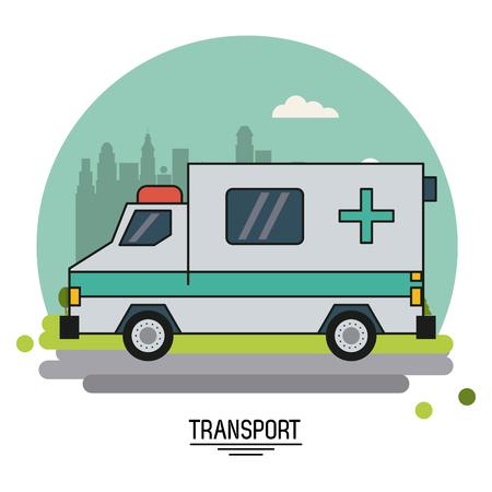 球のベクトル図の形で都市の背景郊外に救急車で輸送のカラフルなポスター  イラスト・ベクター素材