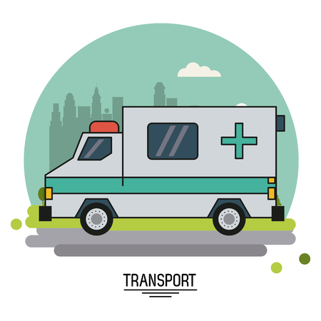 colorful poster of transport with ambulance vehicle on background outskirts of the city in shape of sphere vector illustration