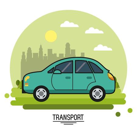 球ベクトル図の形で都市の郊外を背景に自動車輸送のカラフルなポスター