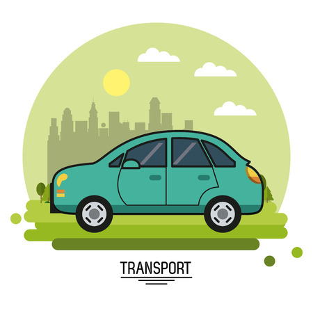 colorful poster of transport with automobile on background outskirts of the city in shape of sphere vector illustration