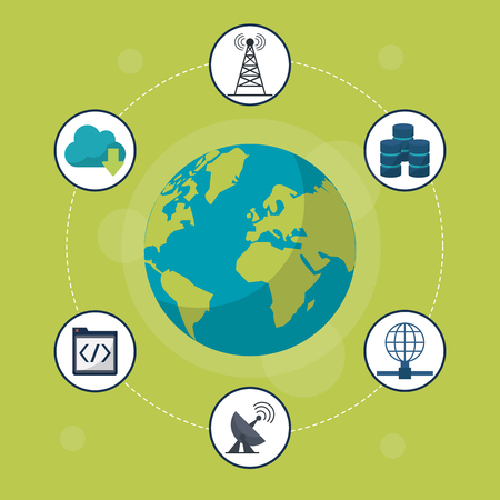 green background with earth globe in closeup and networking icons around vector illustration Illustration