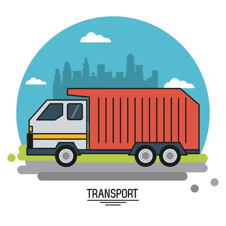 球のベクトル図の形で都市の背景郊外にごみ収集車による輸送のカラフルなポスター