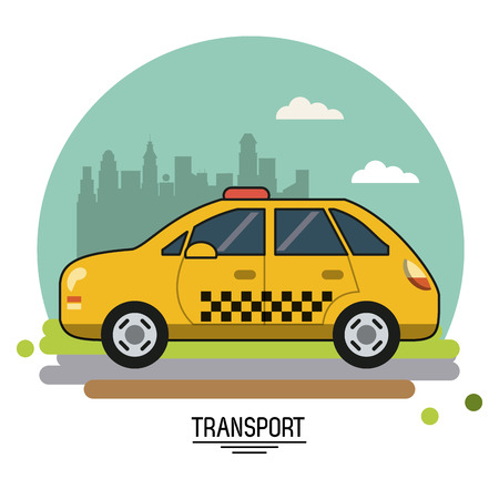 colorful poster of transport with taxi on background outskirts of the city in shape of sphere vector illustration