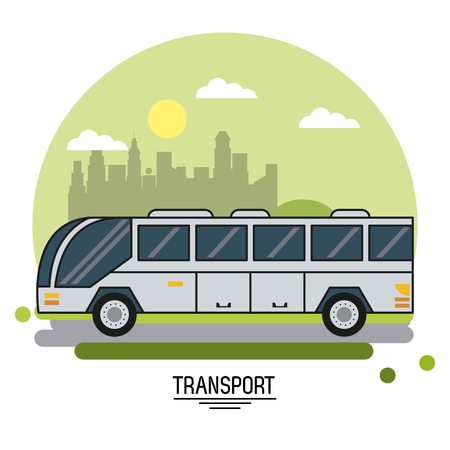colorful poster of transport with bus on background outskirts of the city in shape of sphere vector illustration