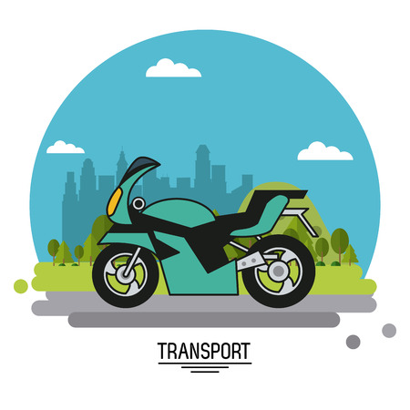 colorful poster of transport with motorcycle on background outskirts of the city in shape of sphere vector illustration