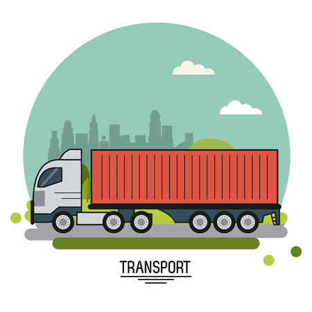 colorful poster of transport with cargo truck on background outskirts of the city in shape of sphere vector illustration