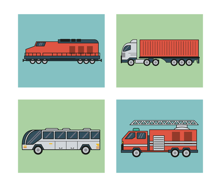 car speed: white background with square set of vehicles of public transport vector illustration Illustration