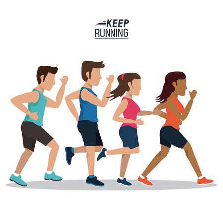 endurance run: white background of poster keep running with set of men and women athletes vector illustration