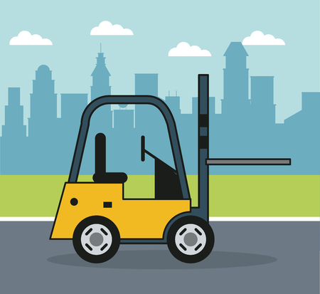colorful background with forklift on the outskirts of the city vector illustration