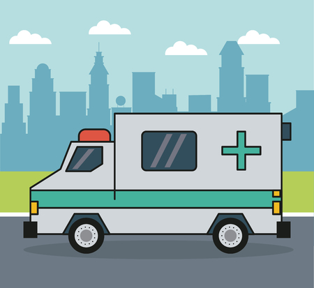 colorful background with ambulance on the outskirts of the city vector illustration Ilustrace