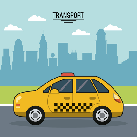 colorful poster of transport with cab on the outskirts of the city vector illustration