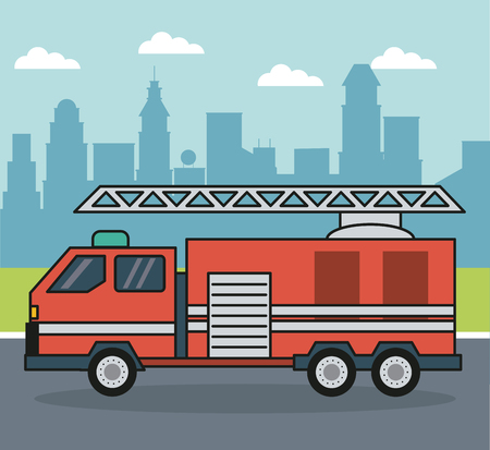 colorful background with firetruck on the outskirts of the city vector illustration  イラスト・ベクター素材