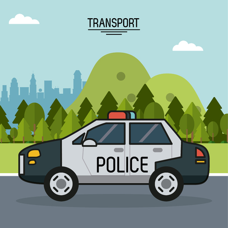 colorful poster of transport with police car on the outskirts of the city vector illustration