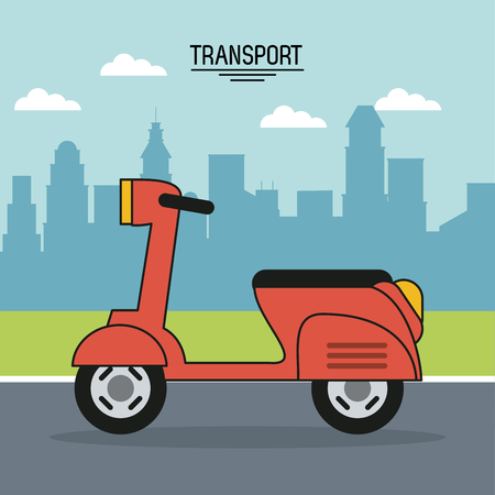 colorful poster of transport with scooter on the outskirts of the city vector illustration Ilustrace