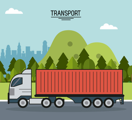 colorful poster of transport with cargo truck on the outskirts of the city vector illustration