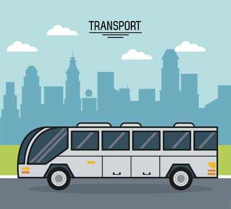 市のベクトル図の郊外のバス輸送のカラフルなポスター