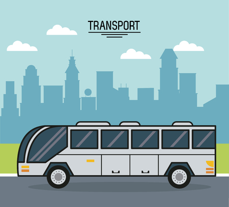 colorful poster of transport with bus on the outskirts of the city vector illustration