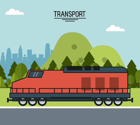 colorful poster of transport with train on the outskirts of the city vector illustration