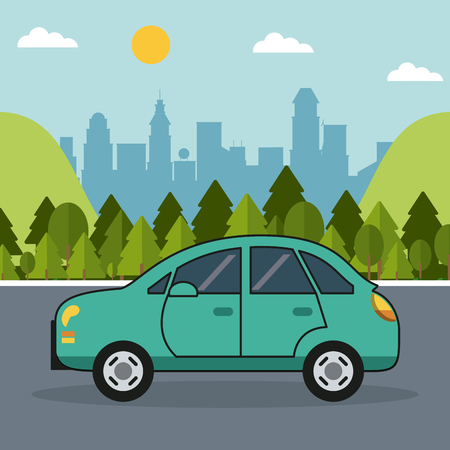 colorful background with automobile on the outskirts of the city vector illustration