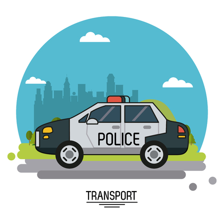 colorful poster of transport with police car on background outskirts of the city in shape of sphere vector illustration