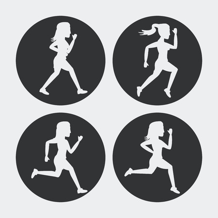 Set of silhouettes of women athletes running vector illustration Illustration