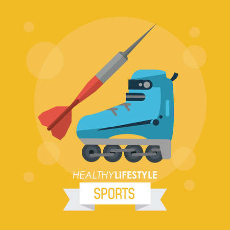 A colorful poster of healthy lifestyle sports with dart and roller skate vector illustration.