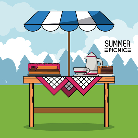 Colorful poster of summer picnic with outdoor landscape and table with sunshade and pie and coffee jar with cup vector illustration Illustration